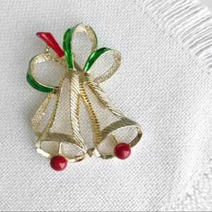 VINTAGE Gold Holiday Bells GERRYS Christmas Brooch